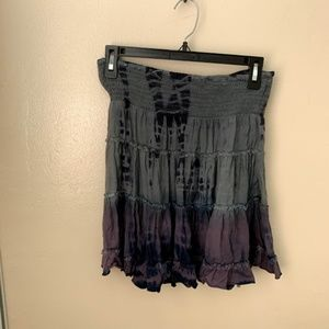 Free People Strapless Dress Gray Cotton Tiered